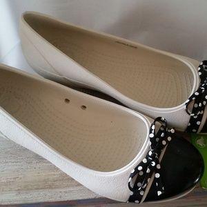 CROCS Women's black & white polka-dot flats size 8